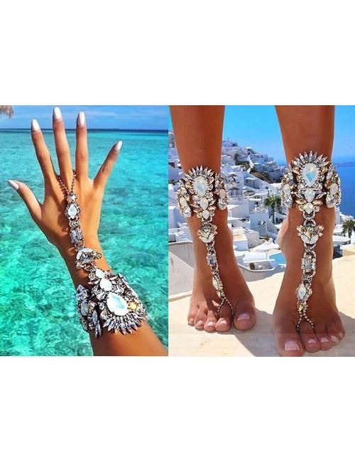 Bratara cristale pentru mana sau picior Blanco