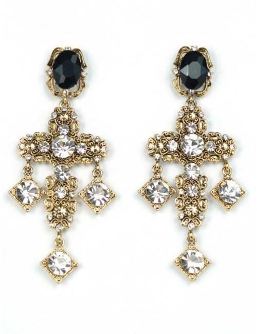 Cercei cruce aurii cu pietre negre si albe Royal Cross