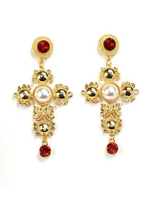 Cercei cruce aurii candelabru cu pietre rosii si perle Luxury Red