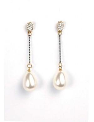Cercei aurii cu perla si pietre Pearl
