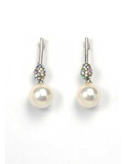 Cercei perla si pietre argintii Beauty