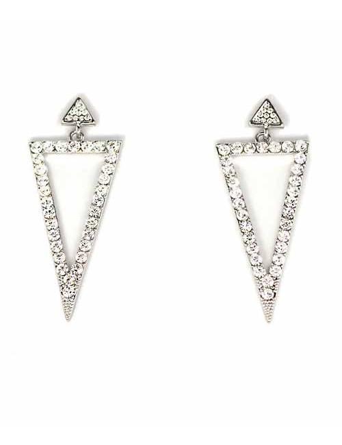 Cercei triunghiulari arginti cu pietre stralucitoare Sharp