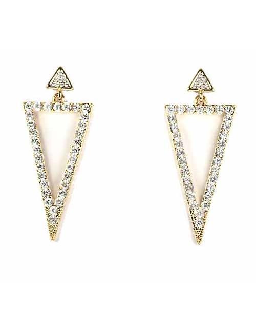 Cercei aurii triunghiulari cu pietre stralucitoare Sharp