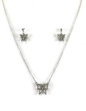 Set Colier si Cercei Argintiu Mariposa