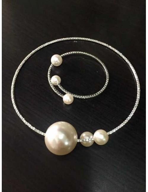Set argintiu colier si bratara cu pietre si perle Sparkle
