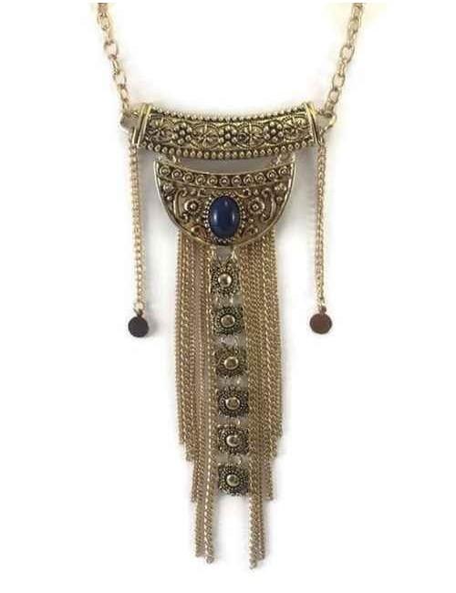 Colier statement auriu cu lanturi lungi si piatra abastra Inka