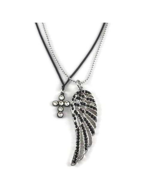 Colier argintiu cruce neagra cu pietre si aripa argintie cu pietre Wings