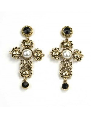 Cercei cruce aurii Luxury Black