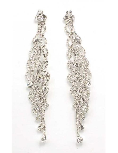 Cercei lungi argintii cu pietre stralucitoare Brill