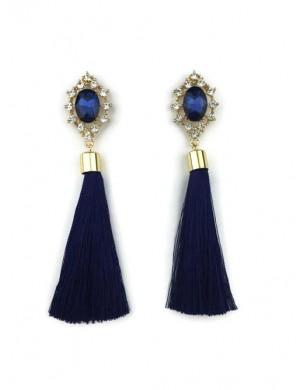Cercei aurii cu ciucuri lungi albastri si pietre Pretty