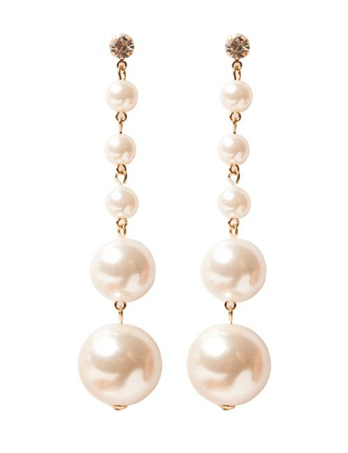 Cercei aurii statement lungi cu perle Alice