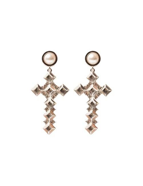 Cercei candelabru in forma de cruce argintii cu pietre si perla Avi