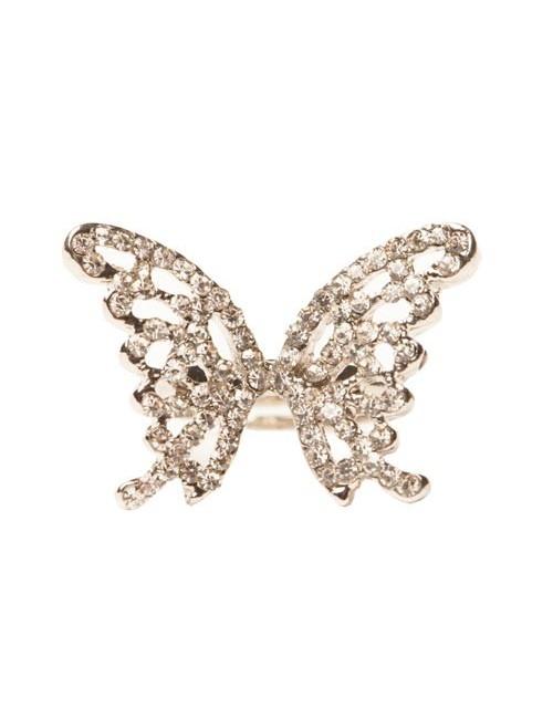 Inel argintiu cu pietre forma fluture Butterfly