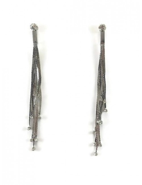 Cercei lungi argintii cu lanturi si pietre Long