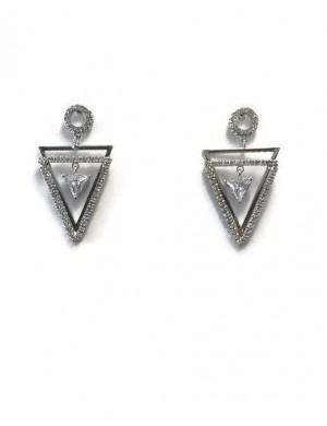 Cercei argintii cu pietre Geometric