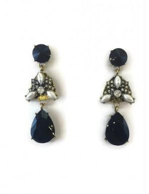 Cercei candelabru aurii cu perle si pietre negre si albe Black Pearl